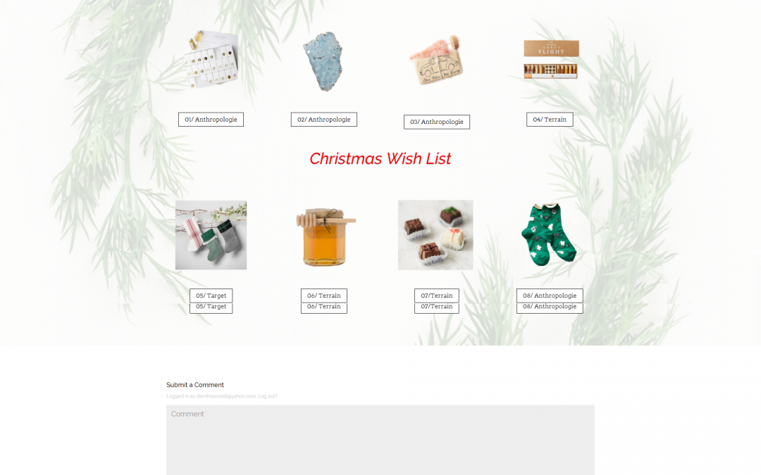 Divi Free Layout Holiday Wish List